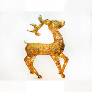 Golden Reindeer With Lights - Big