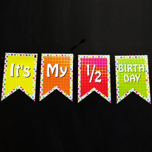 Half Birthday Happy Birthday Banner - Polka Dots