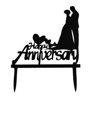 Happy Anniversary Cake Topper - Black