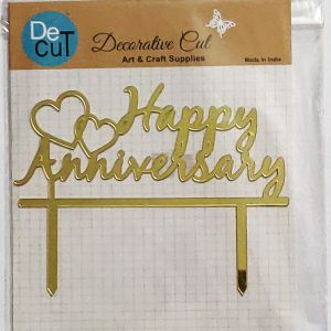 Happy Anniversary Cake Topper - Golden