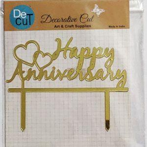 Happy Anniversary Cake Topper - Golden