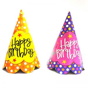 Happy Birthday Polka Dot Caps - Set Of 10