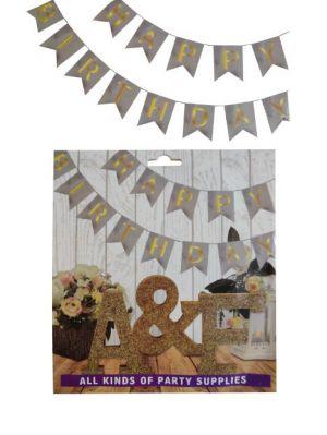 Happy Birthday Banner - Silver & Golden - Model 100X