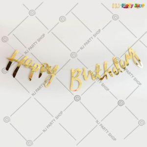 Happy Birthday Banner Cursive - Golden