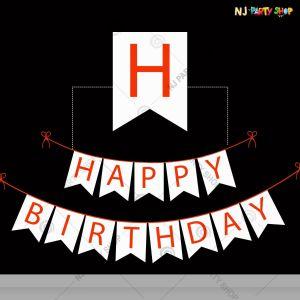 Happy Birthday Banner - White & Red