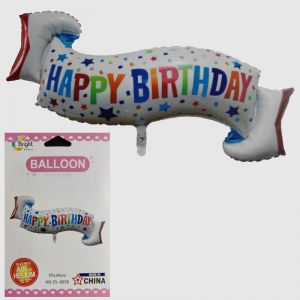 Happy Birthday Banner Shape Foil Balloon