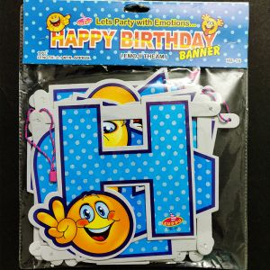 Happy Birthday Banner - Smiley Blue