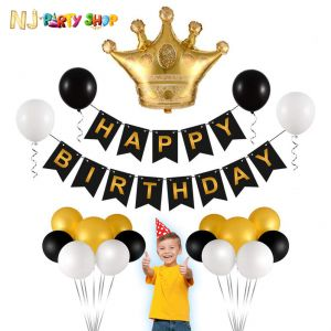 015A Model - Birthday Decoration Crown Combo Kit - Black & Golden