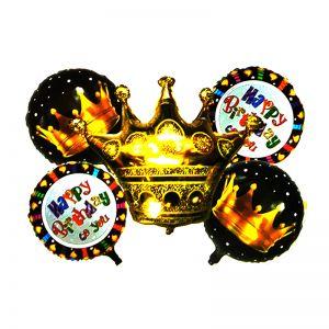 Happy Birthday Crown Shape Golden Foil Balloons- Set of 5