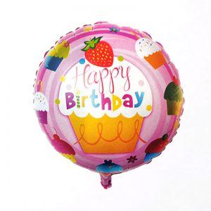 Happy Birthday Pink Round Shape Foil Balloon