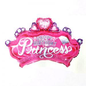 Happy Birthday Princess Crown Shape Foil Balloon