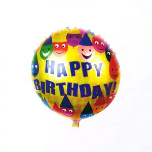 Happy Birthday Smiley Round Shape Foil Balloon