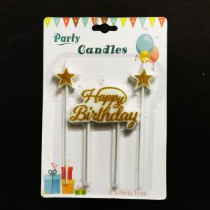 Happy Birthday Star Candle - Golden