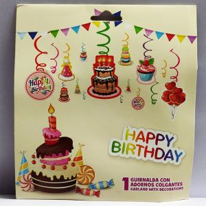 Happy Birthday Swirls - Set of 12