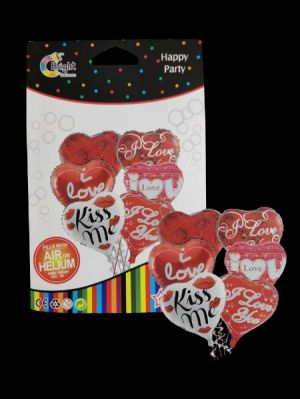 Heart Foil Balloons - Set of 6 - Model 100X