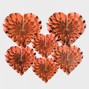 Heart Shape Paper Fans Decoration - Red