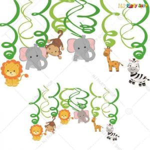 Jungle Theme - Animals Swirls - Set of 12