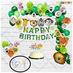 Jungle Theme Happy Birthday Decoration Combo - Set Of 56