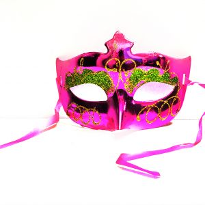 Masquerade Glitter Eye Mask - Metallic Pink