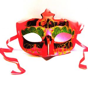 Masquerade Glitter Eye Mask - Metallic Red