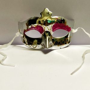 Masquerade Glitter Eye Mask - Metallic Silver