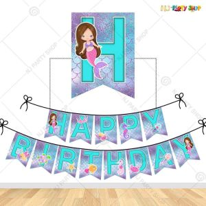 Mermaid Theme Happy Birthday Banner