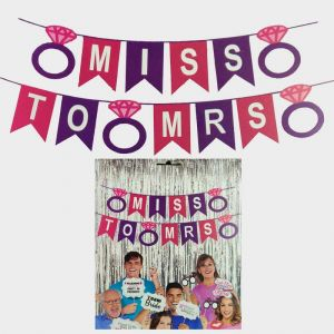 Bachelorette Party Decoration Combo - Banner, Photo Booth Props & Foil Curtains