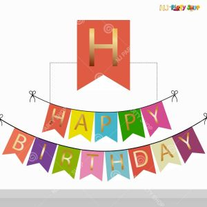 Happy Birthday Banner Multicolour with Golden Alphabets