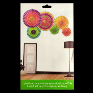 Paper Decoration Fans - Multi Color - Set of 6