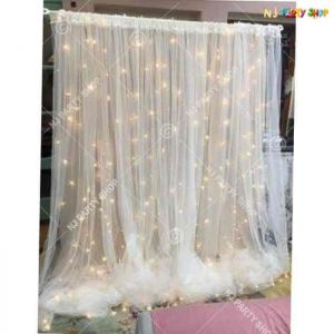 Net Curtain Backdrop For Party Decorations - 9 Feet By 9 Feet