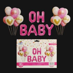 OH Baby Pink Foil Balloons With Rubber Balloons