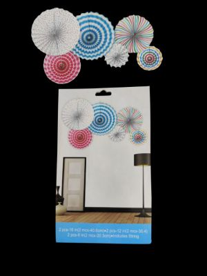 Paper Decoration Fans - Multi Colour - Set of 6 ( Model 100X)