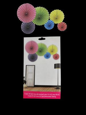Paper Decoration Fans - Multi Colour - Set of 6 ( Model 200X)