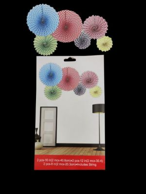 Paper Decoration Fans - Multi Colour - Set of 6 ( Model 300X)