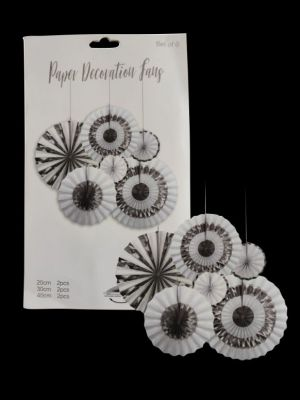 Paper Decoration Fans - Silver & Black - Set of 6