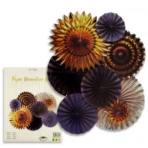 Paper Decoration Fans - Black & Golden - Set of 8