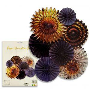 Paper Decoration Fans - Black & Golden - Set of 8