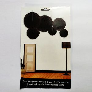 Paper Fans for Decoration - Black - Set of 6