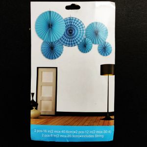Paper Fans for Decoration - Blue - Set of 6 - Model 1001