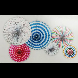 Decoration Paper Fans - Multicolour - Set of 6 - Model 1001