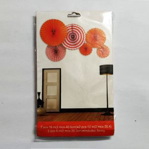 Paper Fans for Decoration - Orange - Set of 6