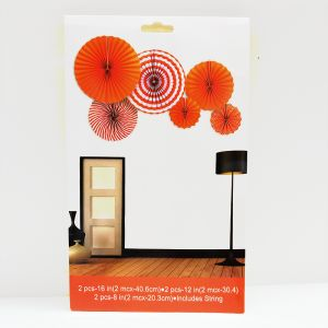 Paper Fans for Decoration - Orange Color - Set of 6