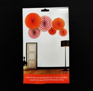 Paper Fans for Decoration - Red - Set of 6