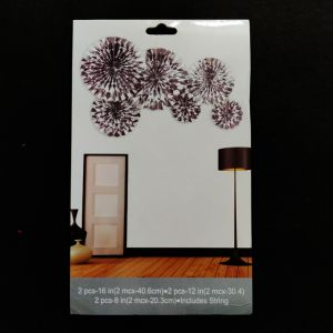 Decoration Paper Fans - Silver - Set of 6