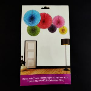 Decoration Paper Fans - Multicolour - Set of 6