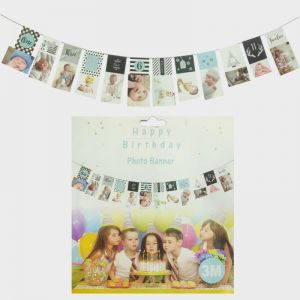 1st Birthday Photo Banner - Blue