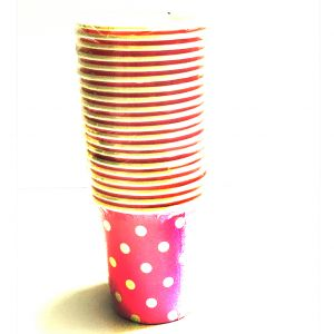 Pink Polka Dot Paper Cups - Set of 20