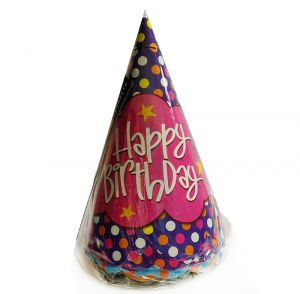 Polka Dot Happy Birthday Caps - Set of 10