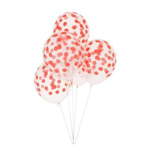 Red Confetti Balloons - Set of 10