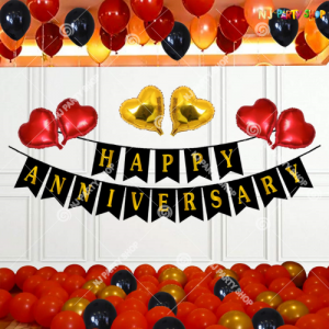 05L - Red & Golden Happy Marriage Anniversary Decoration Combo Kit - Set of 52 Pieces